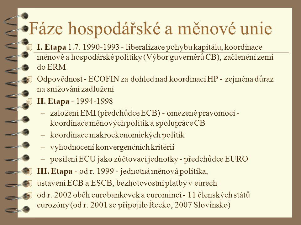 Fáze hospodářské a měnové unie 4 I. Etapa 1.7. 1990-1993 - liberalizace pohybu kapitálu, koordinace měnové a hospodářské politiky (Výbor guvernérů CB)