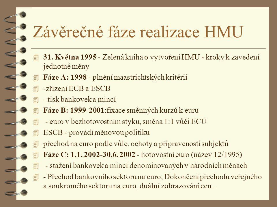 Závěrečné fáze realizace HMU 4 31. Května 1995 - Zelená kniha o vytvoření HMU - kroky k zavedení jednotné měny 4 Fáze A: 1998- plnění maastrichtských