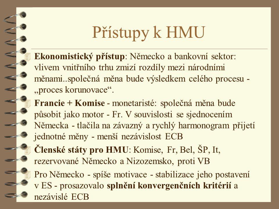 Přístupy k HMU 4 Ekonomistický přístup: Německo a bankovní sektor: vlivem vnitřního trhu zmizí rozdíly mezi národními měnami..společná měna bude výsle