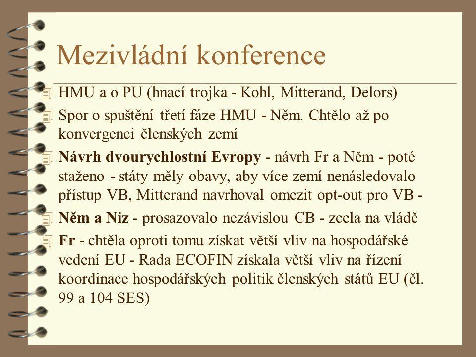 Mezivládní konference 4 HMU a o PU (hnací trojka - Kohl, Mitterand, Delors) 4 Spor o spuštění třetí fáze HMU - Něm. Chtělo až po konvergenci členských