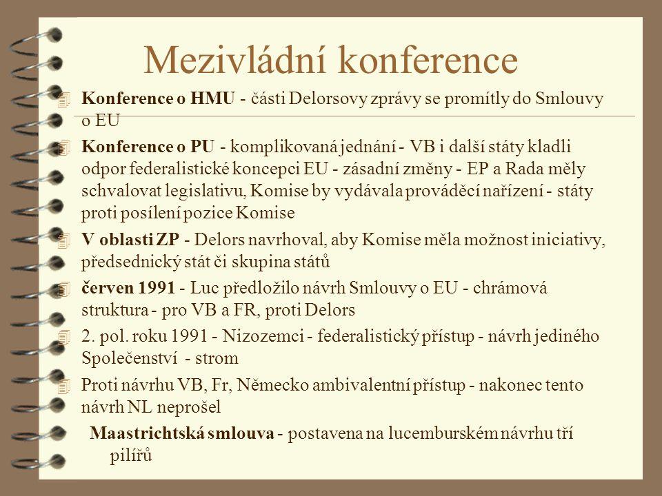 Mezivládní konference 4 Konference o HMU - části Delorsovy zprávy se promítly do Smlouvy o EU 4 Konference o PU - komplikovaná jednání - VB i další st