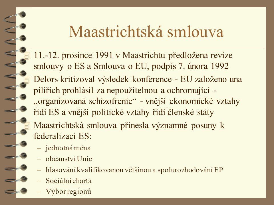 Maastrichtská smlouva 4 11.-12. prosince 1991 v Maastrichtu předložena revize smlouvy o ES a Smlouva o EU, podpis 7. února 1992 4 Delors kritizoval vý