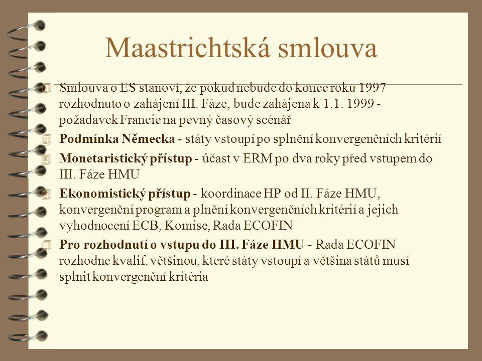 Maastrichtská smlouva 4 Smlouva o ES stanoví, že pokud nebude do konce roku 1997 rozhodnuto o zahájení III. Fáze, bude zahájena k 1.1. 1999 - požadave