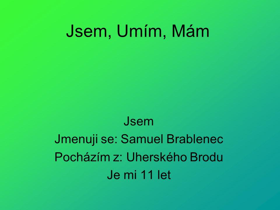 Jsem, Umím, Mám Jsem Jmenuji se: Samuel Brablenec Pocházím z: Uherského Brodu Je mi 11 let