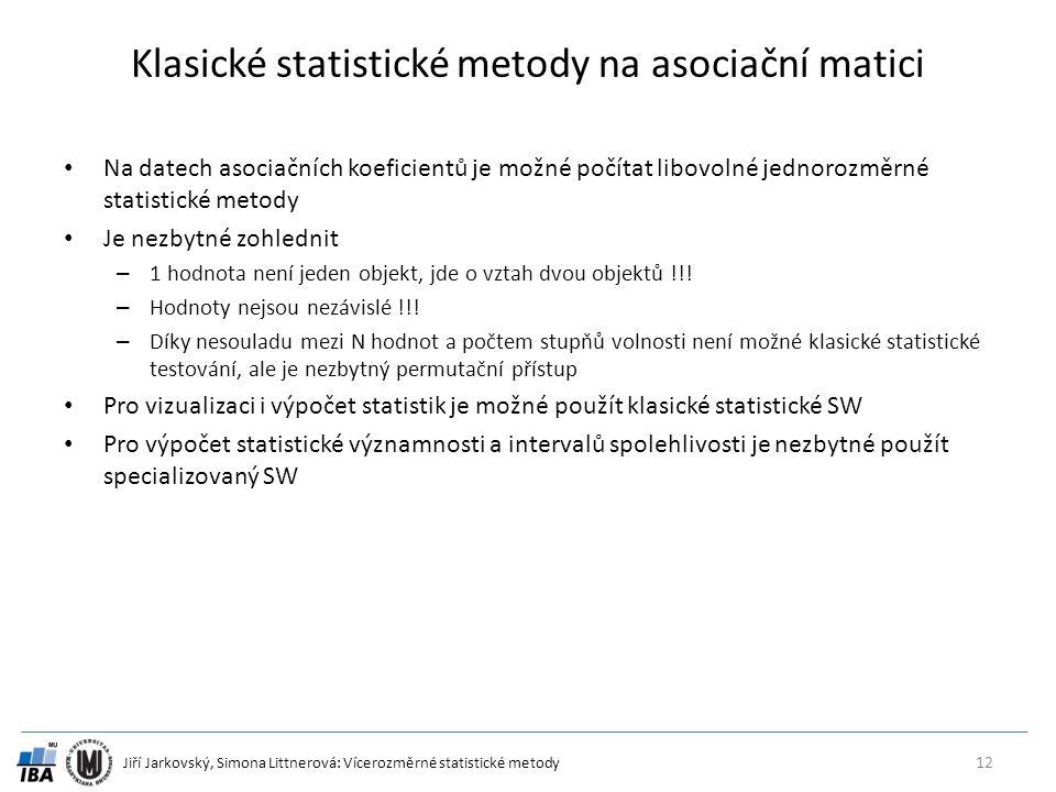 Jiří Jarkovský, Simona Littnerová: Vícerozměrné statistické metody Klasické statistické metody na asociační matici Na datech asociačních koeficientů j
