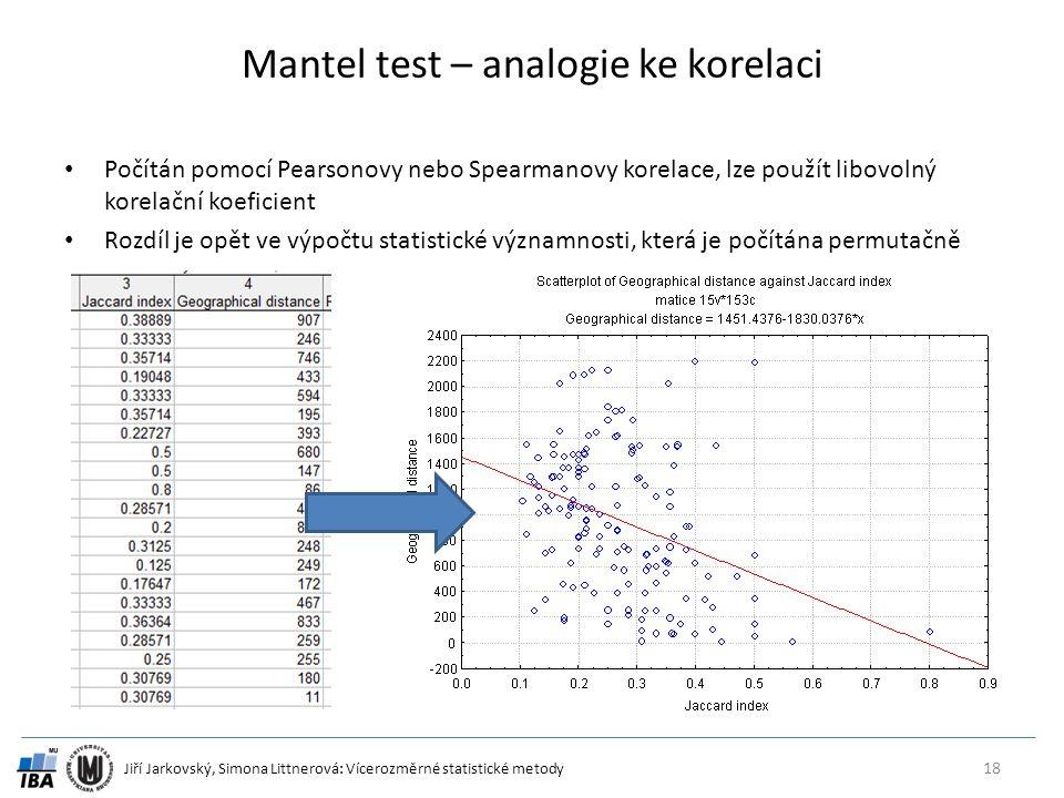 Jiří Jarkovský, Simona Littnerová: Vícerozměrné statistické metody Mantel test – analogie ke korelaci Počítán pomocí Pearsonovy nebo Spearmanovy korelace, lze použít libovolný korelační koeficient Rozdíl je opět ve výpočtu statistické významnosti, která je počítána permutačně 18