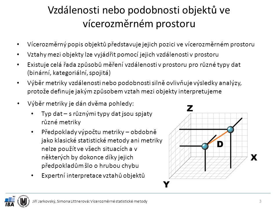 Jiří Jarkovský, Simona Littnerová: Vícerozměrné statistické metody Vzdálenosti nebo podobnosti objektů ve vícerozměrném prostoru Vícerozměrný popis objektů představuje jejich pozici ve vícerozměrném prostoru Vztahy mezi objekty lze vyjádřit pomocí jejich vzdálenosti v prostoru Existuje celá řada způsobů měření vzdálenosti v prostoru pro různé typy dat (binární, kategoriální, spojitá) Výběr metriky vzdálenosti nebo podobnosti silně ovlivňuje výsledky analýzy, protože definuje jakým způsobem vztah mezi objekty interpretujeme 3 Výběr metriky je dán dvěma pohledy: Typ dat – s různými typy dat jsou spjaty různé metriky Předpoklady výpočtu metriky – obdobně jako klasické statistické metody ani metriky nelze použít ve všech situacích a v některých by dokonce díky jejich předpokladům šlo o hrubou chybu Expertní interpretace vztahů objektů