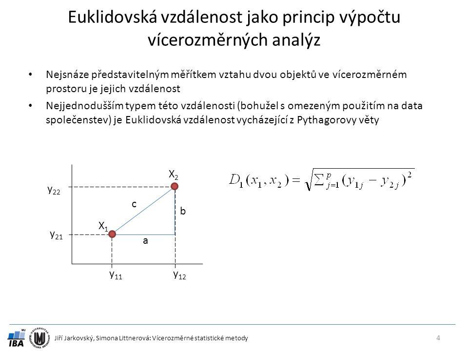 Jiří Jarkovský, Simona Littnerová: Vícerozměrné statistické metody Euklidovská vzdálenost jako princip výpočtu vícerozměrných analýz Nejsnáze představ