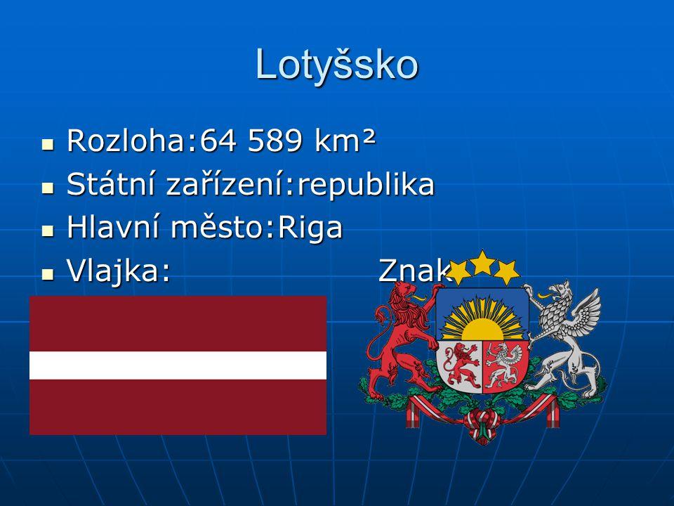 Lotyšsko Rozloha:64 589 km² Rozloha:64 589 km² Státní zařízení:republika Státní zařízení:republika Hlavní město:Riga Hlavní město:Riga Vlajka:Znak: Vl