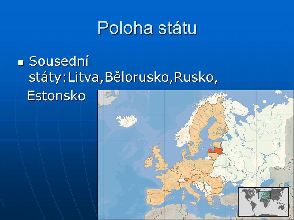 Poloha státu Sousední státy:Litva,Bělorusko,Rusko, Sousední státy:Litva,Bělorusko,Rusko, Estonsko Estonsko