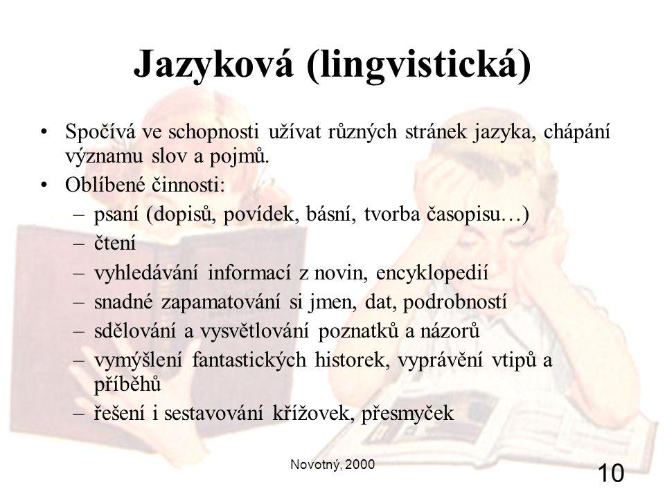 Novotný, 2000 10 Jazyková (lingvistická) Spočívá ve schopnosti užívat různých stránek jazyka, chápání významu slov a pojmů. Oblíbené činnosti: –psaní
