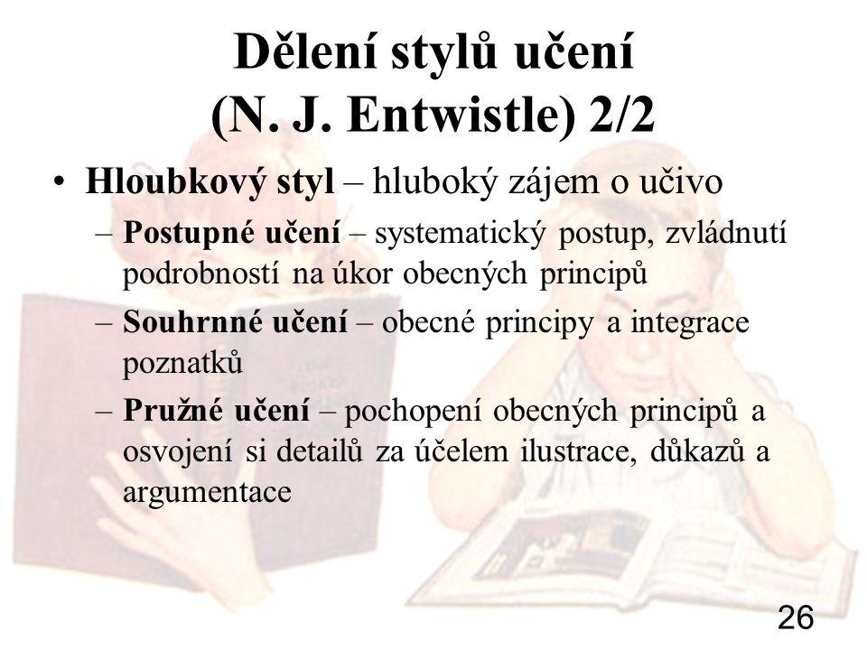 26 Dělení stylů učení (N. J. Entwistle) 2/2 Hloubkový styl – hluboký zájem o učivo –Postupné učení – systematický postup, zvládnutí podrobností na úko