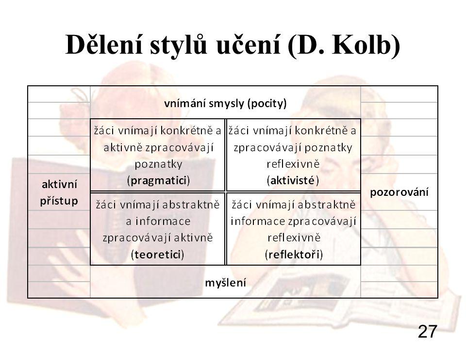 27 Dělení stylů učení (D. Kolb)