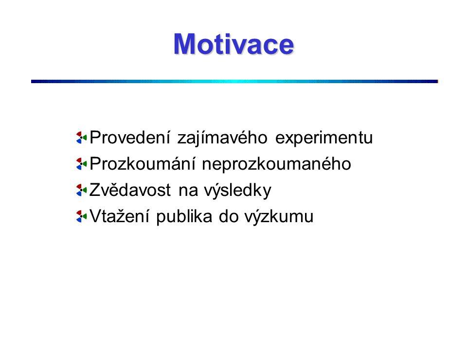 Motivace Provedení zajímavého experimentu Prozkoumání neprozkoumaného Zvědavost na výsledky Vtažení publika do výzkumu