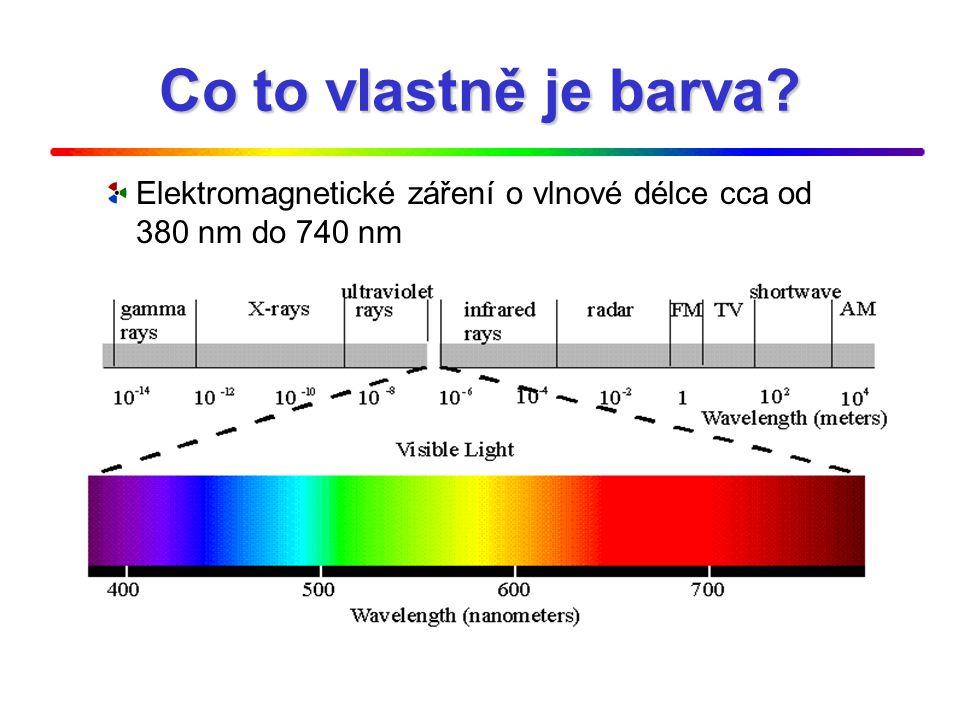 Barevný vjem Barevný tón – dominantní vlnová délka Sytost (čistota) barvy Světlost (jas)