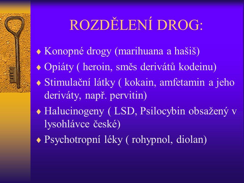 ROZDĚLENÍ DROG:  Konopné drogy (marihuana a hašiš)  Opiáty ( heroin, směs derivátů kodeinu)  Stimulační látky ( kokain, amfetamin a jeho deriváty,