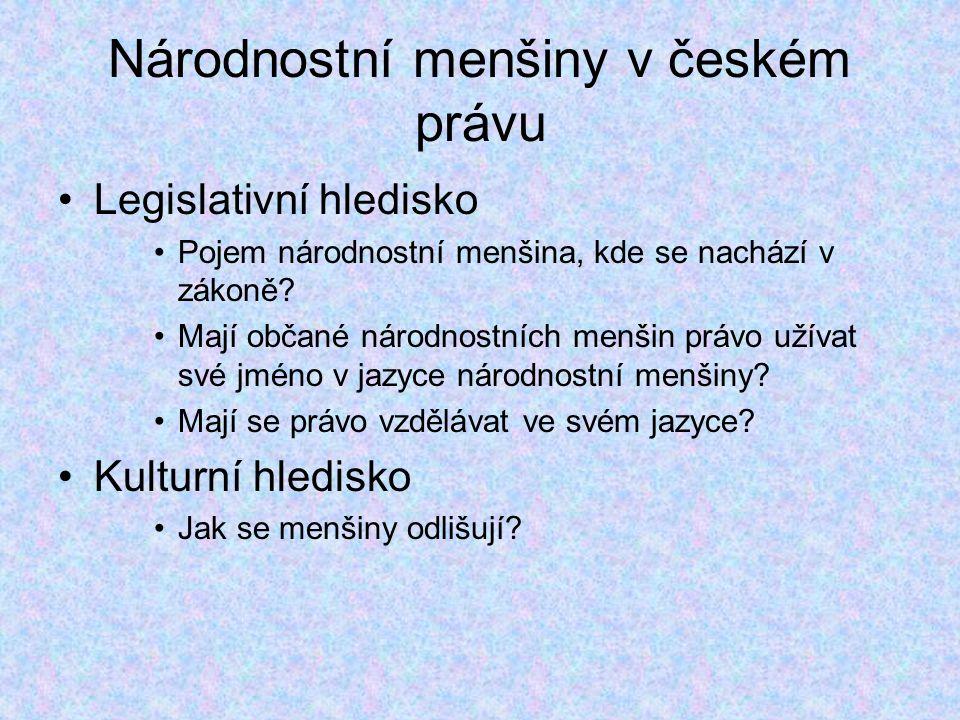 Národnostní menšiny v českém právu Legislativní hledisko Pojem národnostní menšina, kde se nachází v zákoně.
