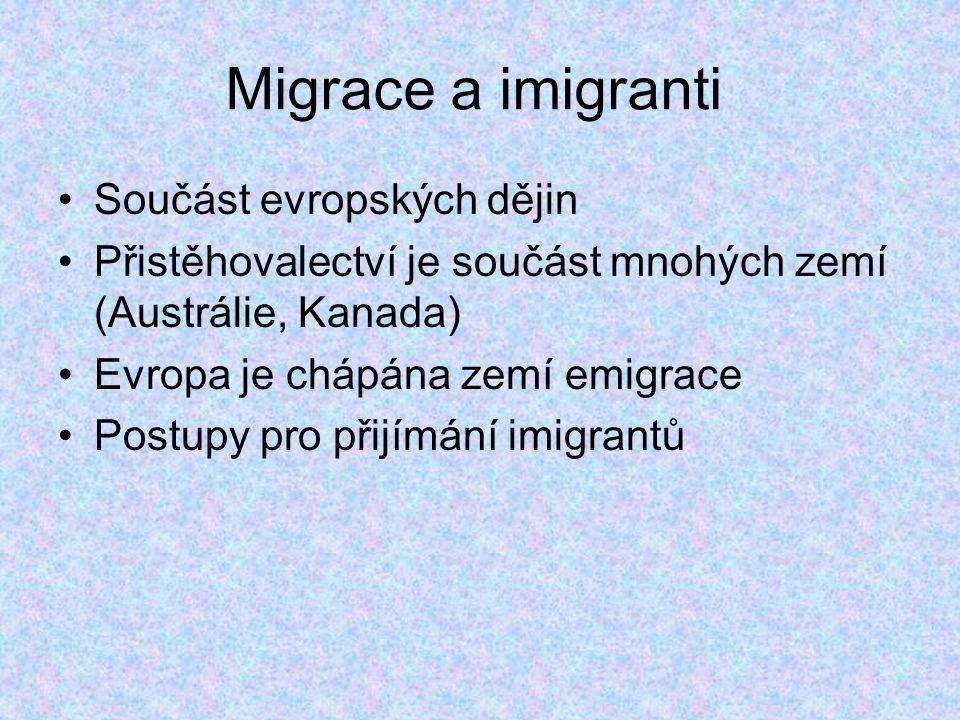 Migrace a imigranti Součást evropských dějin Přistěhovalectví je součást mnohých zemí (Austrálie, Kanada) Evropa je chápána zemí emigrace Postupy pro přijímání imigrantů