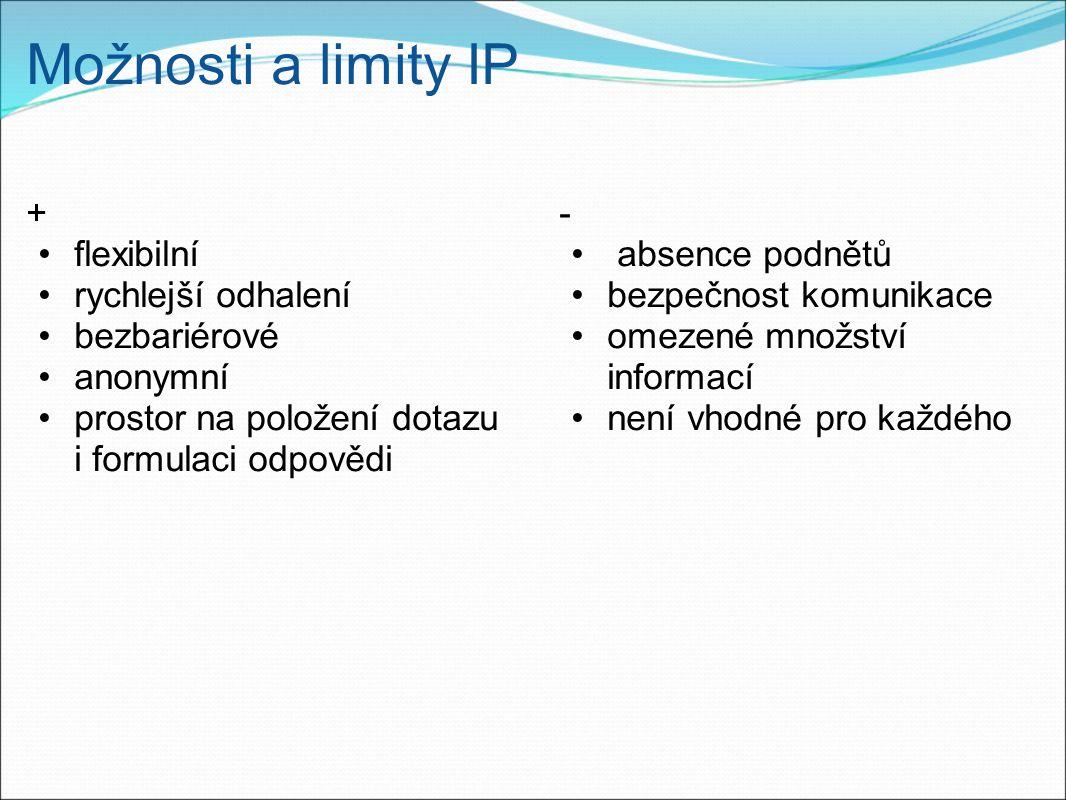 Možnosti a limity IP + flexibilní rychlejší odhalení bezbariérové anonymní prostor na položení dotazu i formulaci odpovědi - absence podnětů bezpečnost komunikace omezené množství informací není vhodné pro každého