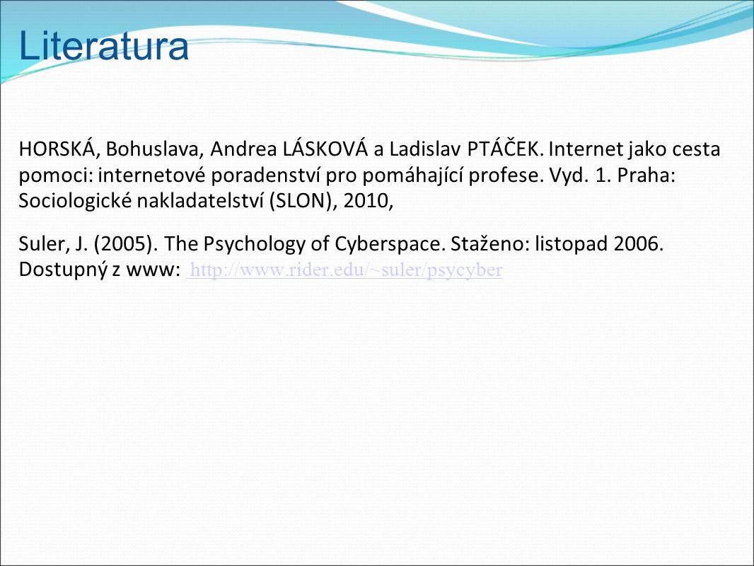 Literatura HORSKÁ, Bohuslava, Andrea LÁSKOVÁ a Ladislav PTÁČEK. Internet jako cesta pomoci: internetové poradenství pro pomáhající profese. Vyd. 1. Pr
