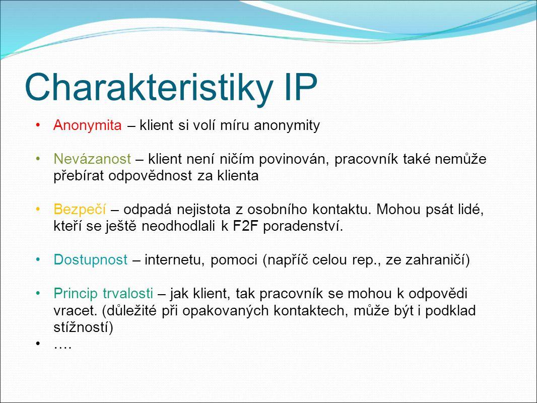 Charakteristiky IP Anonymita – klient si volí míru anonymity Nevázanost – klient není ničím povinován, pracovník také nemůže přebírat odpovědnost za klienta Bezpečí – odpadá nejistota z osobního kontaktu.