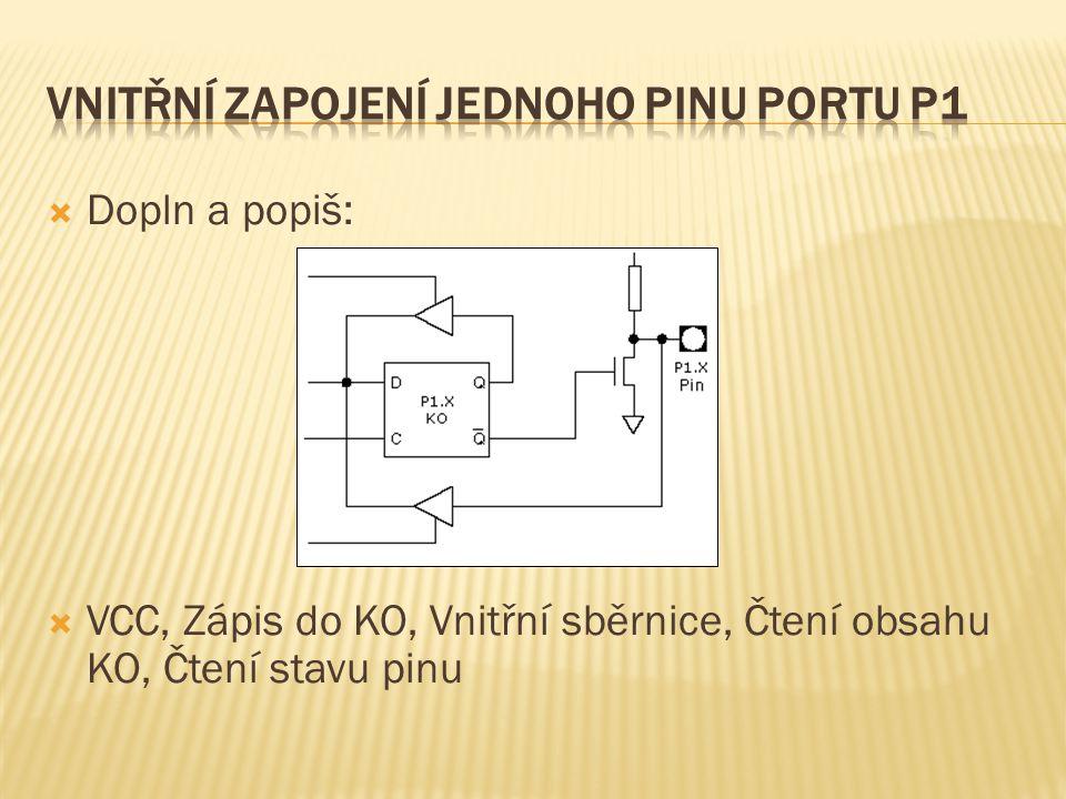  Dopln a popiš:  VCC, Zápis do KO, Vnitřní sběrnice, Čtení obsahu KO, Čtení stavu pinu