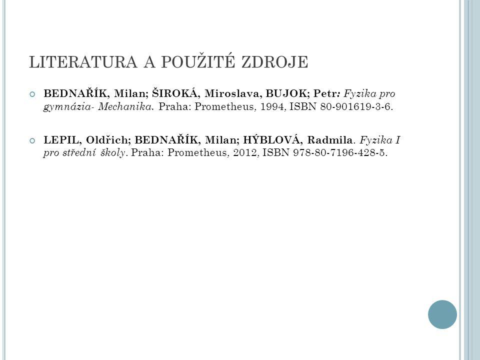 LITERATURA A POUŽITÉ ZDROJE BEDNAŘÍK, Milan; ŠIROKÁ, Miroslava, BUJOK; Petr : Fyzika pro gymnázia- Mechanika.