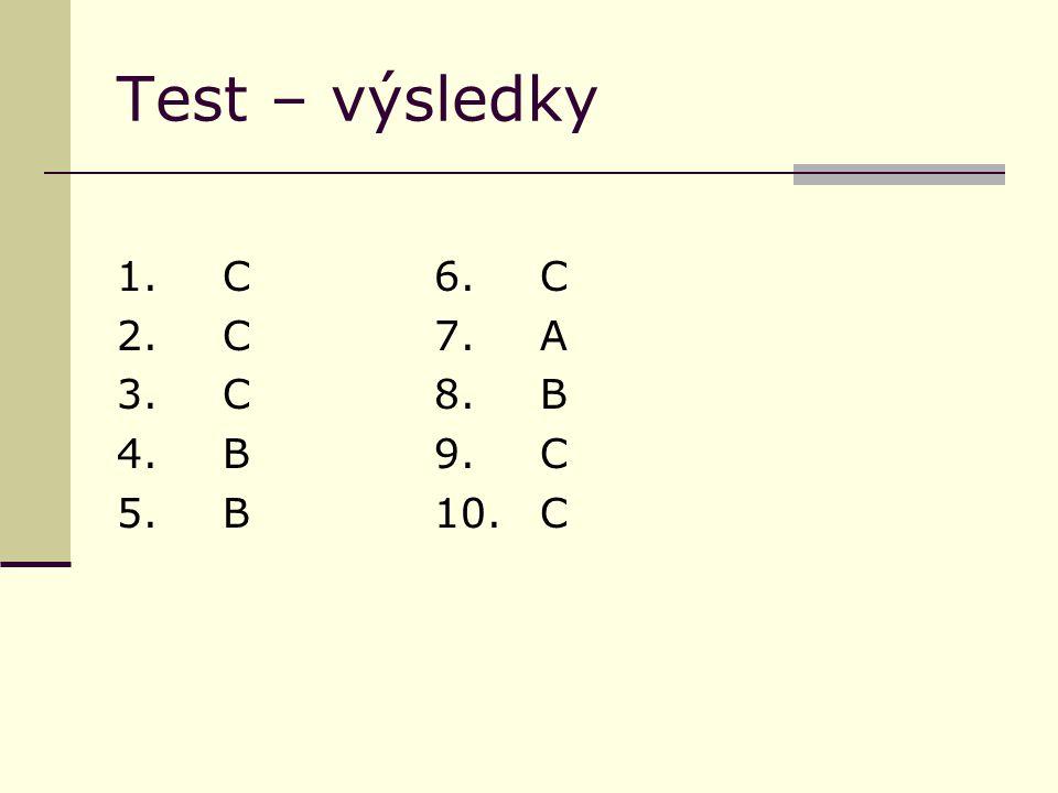Test – výsledky 1.C6.C 2. C7.A 3. C8.B 4. B9.C 5.B10.C
