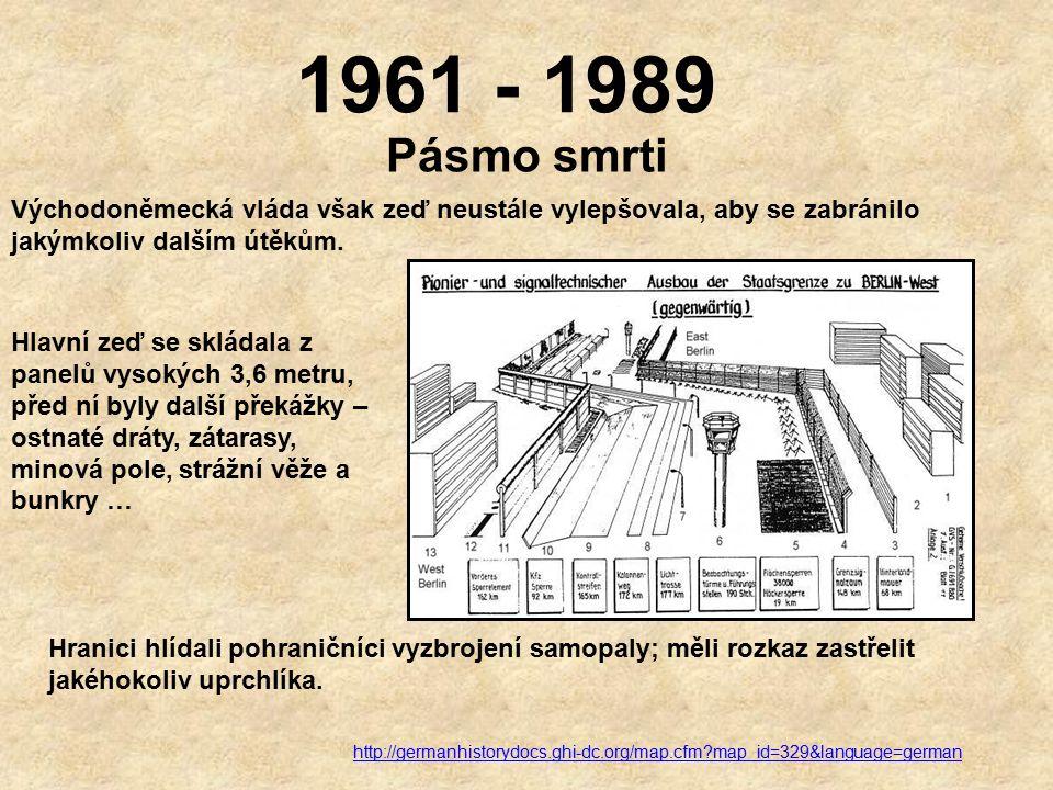 1961 - 1989 Útěky z Berlína V roce 1961 se ještě stovkám uprchlíků podařilo za velmi dramatických okolností uprchnout přes zeď do Západního Berlína.