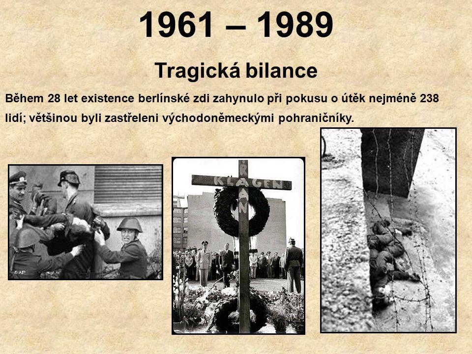 1961 - 1989 Pásmo smrti Východoněmecká vláda však zeď neustále vylepšovala, aby se zabránilo jakýmkoliv dalším útěkům.