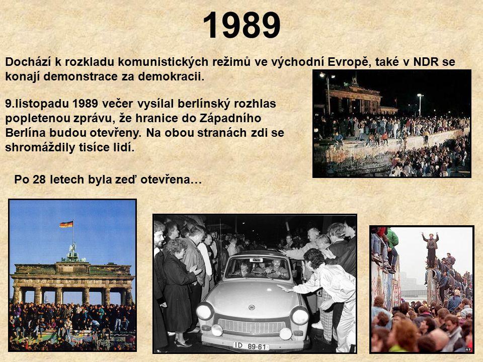 1961 - 1989 Zeď se postupně stala každodenní realitou v životech obyvatel Berlína.