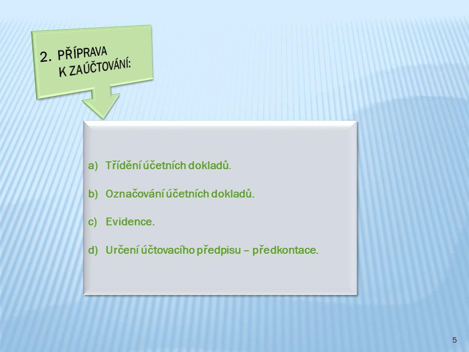 5 a)Třídění účetních dokladů. b)Označování účetních dokladů. c)Evidence. d)Určení účtovacího předpisu – předkontace. a)Třídění účetních dokladů. b)Ozn