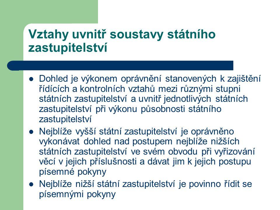 Vztahy uvnitř soustavy státního zastupitelství Dohled je výkonem oprávnění stanovených k zajištění řídících a kontrolních vztahů mezi různými stupni s