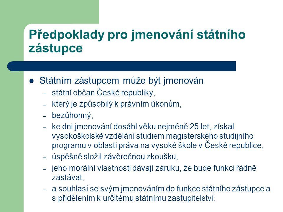 Předpoklady pro jmenování státního zástupce Státním zástupcem může být jmenován – státní občan České republiky, – který je způsobilý k právním úkonům,