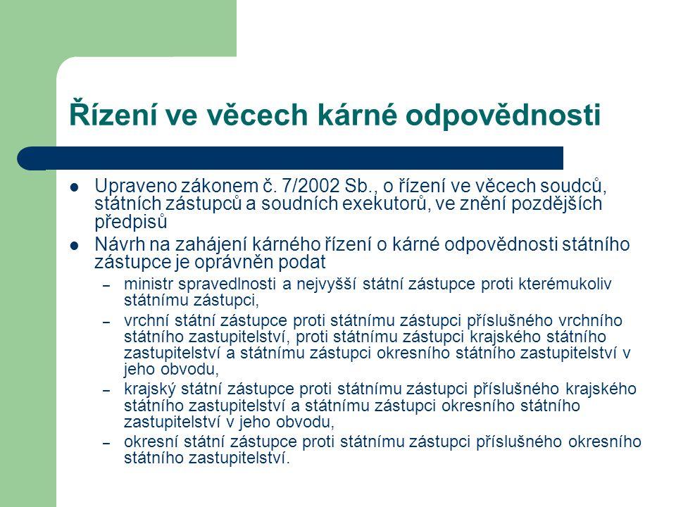 Řízení ve věcech kárné odpovědnosti Upraveno zákonem č. 7/2002 Sb., o řízení ve věcech soudců, státních zástupců a soudních exekutorů, ve znění pozděj