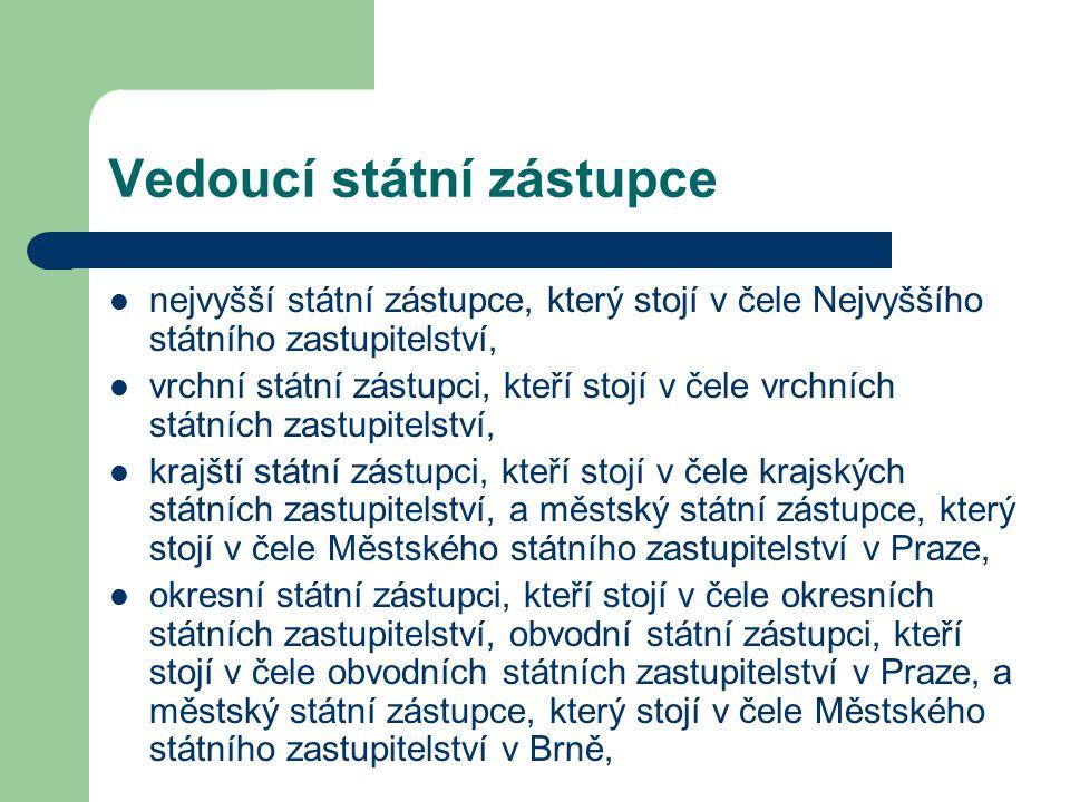Přidělení k výkonu funkce a jeho změny Státní zástupce může být v zájmu řádného zajištění úkolů státního zastupitelství se svým souhlasem dočasně přidělen k výkonu funkce státního zástupce k jinému státnímu zastupitelství na dobu nejdéle 3 let nebo k jinému orgánu nebo organizaci na dobu nejdéle jednoho roku, anebo k jinému orgánu nebo organizaci se sídlem mimo území České republiky na dobu nejdéle 3 let Státní zástupce může být se svým souhlasem v zájmu využití zkušeností dočasně přidělen k ministerstvu nebo k Justiční akademii na dobu nejdéle jednoho roku