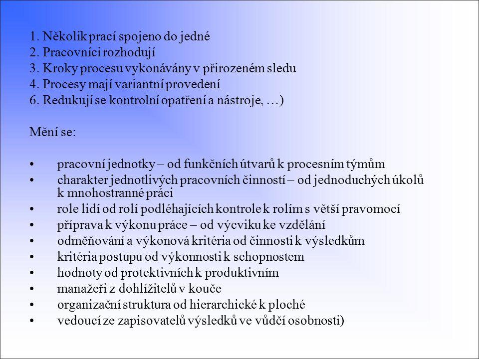 1. Několik prací spojeno do jedné 2. Pracovníci rozhodují 3. Kroky procesu vykonávány v přirozeném sledu 4. Procesy mají variantní provedení 6. Reduku