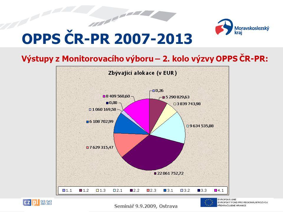 OPPS ČR-PR 2007-2013 Seminář 9.9.2009, Ostrava Výstupy z Monitorovacího výboru – 2. kolo výzvy OPPS ČR-PR: