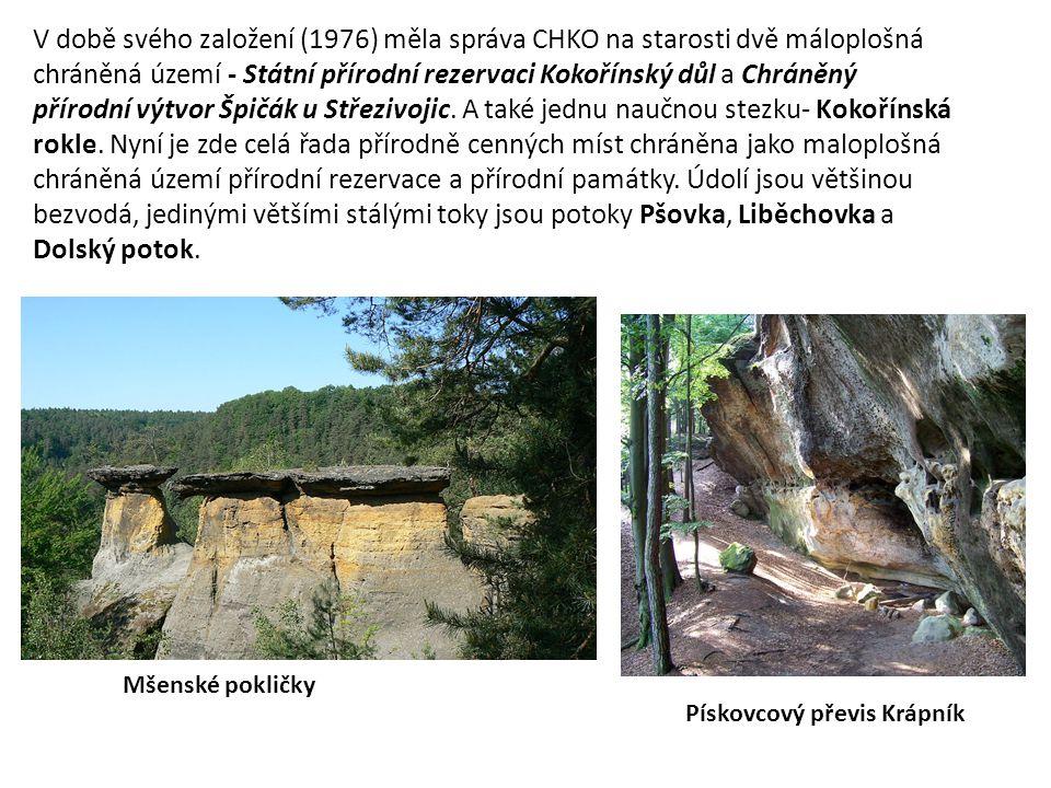 V době svého založení (1976) měla správa CHKO na starosti dvě máloplošná chráněná území - Státní přírodní rezervaci Kokořínský důl a Chráněný přírodní