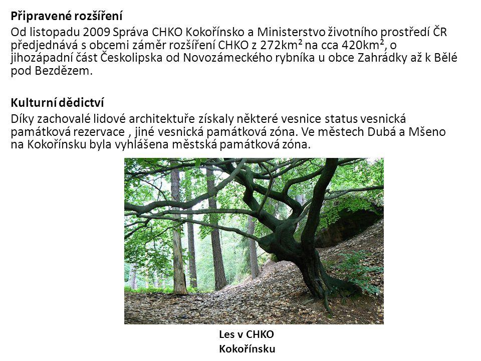 Připravené rozšíření Od listopadu 2009 Správa CHKO Kokořínsko a Ministerstvo životního prostředí ČR předjednává s obcemi záměr rozšíření CHKO z 272km²