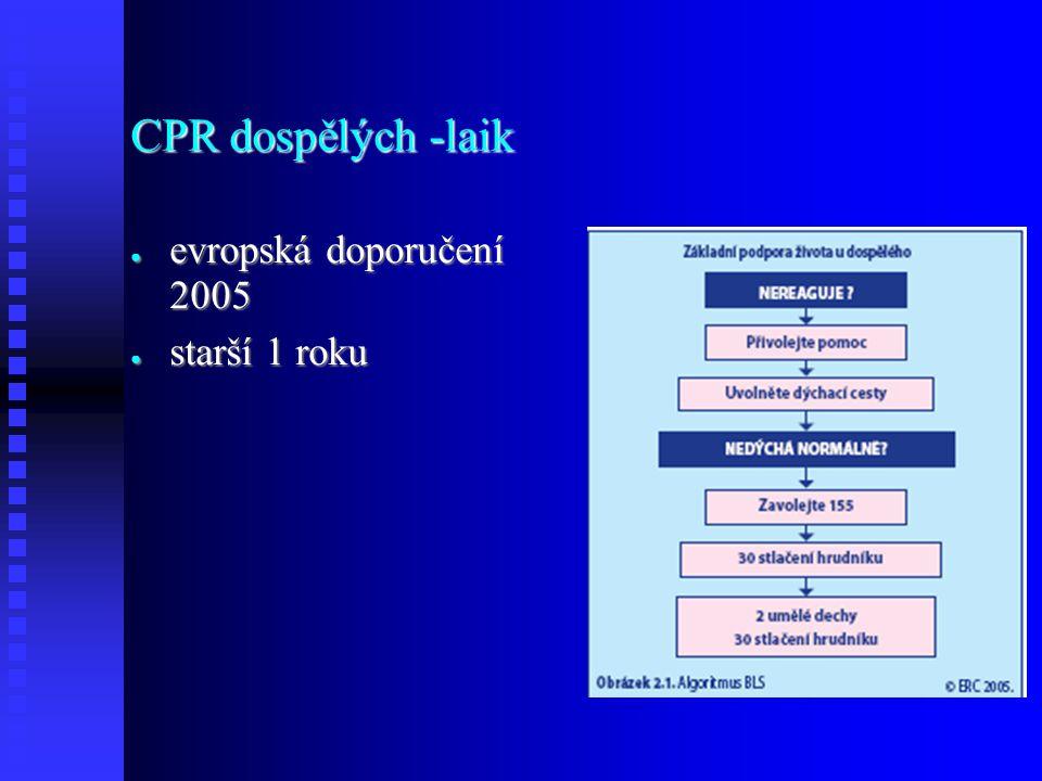 CPR dospělých -laik ● evropská doporučení 2005 ● starší 1 roku