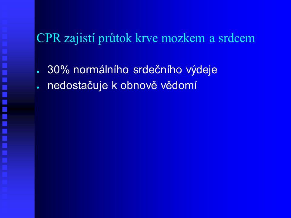 CPR zajistí průtok krve mozkem a srdcem ● ● 30% normálního srdečního výdeje ● ● nedostačuje k obnově vědomí