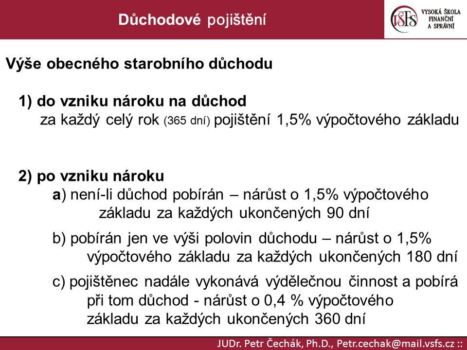 JUDr. Petr Čechák, Ph.D., Petr.cechak@mail.vsfs.cz :: Důchodové pojištění Výše obecného starobního důchodu 1) do vzniku nároku na důchod za každý celý