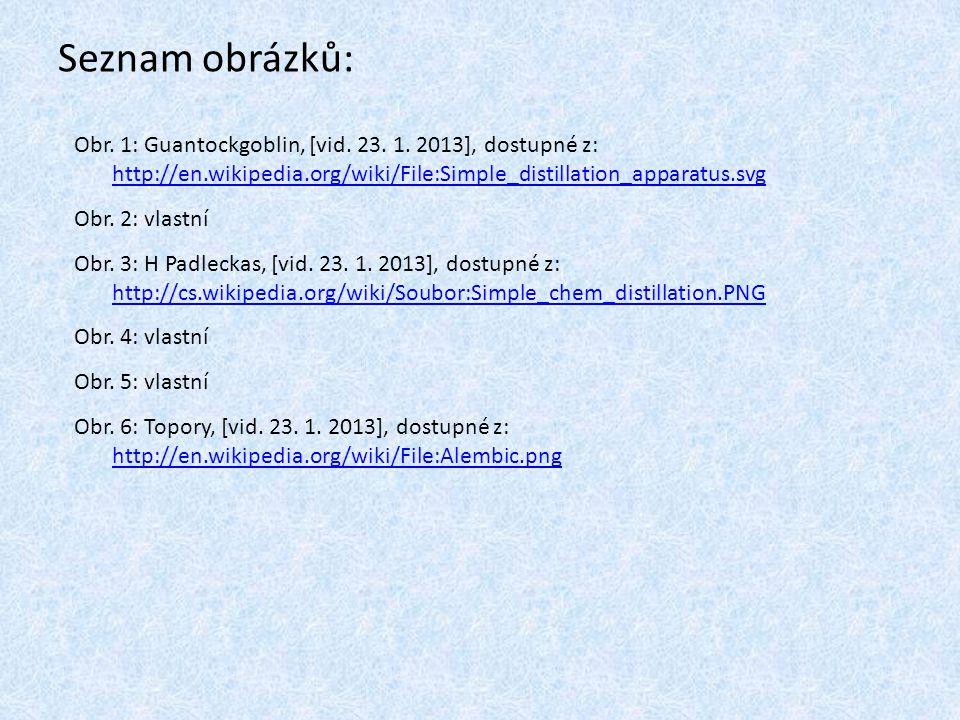 Seznam obrázků: Obr. 1: Guantockgoblin, [vid. 23. 1. 2013], dostupné z: http://en.wikipedia.org/wiki/File:Simple_distillation_apparatus.svg http://en.