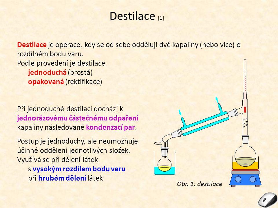 Destilace [1] Destilace je operace, kdy se od sebe oddělují dvě kapaliny (nebo více) o rozdílném bodu varu. Podle provedení je destilace jednoduchá (p