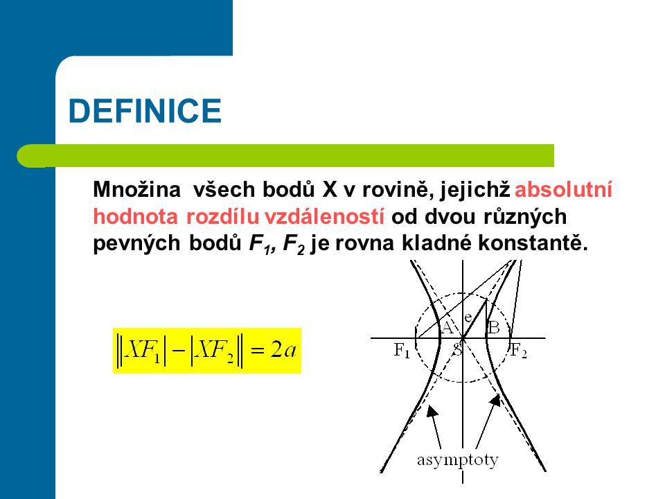 DEFINICE Množina všech bodů X v rovině, jejichž absolutní hodnota rozdílu vzdáleností od dvou různých pevných bodů F 1, F 2 je rovna kladné konstantě.
