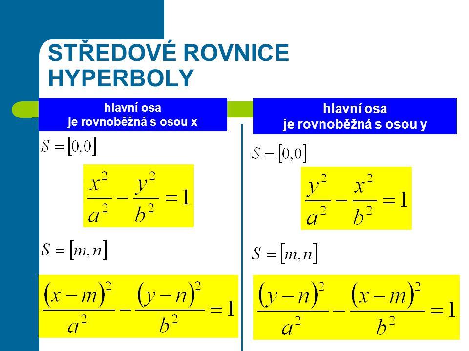 STŘEDOVÉ ROVNICE HYPERBOLY hlavní osa je rovnoběžná s osou x hlavní osa je rovnoběžná s osou y