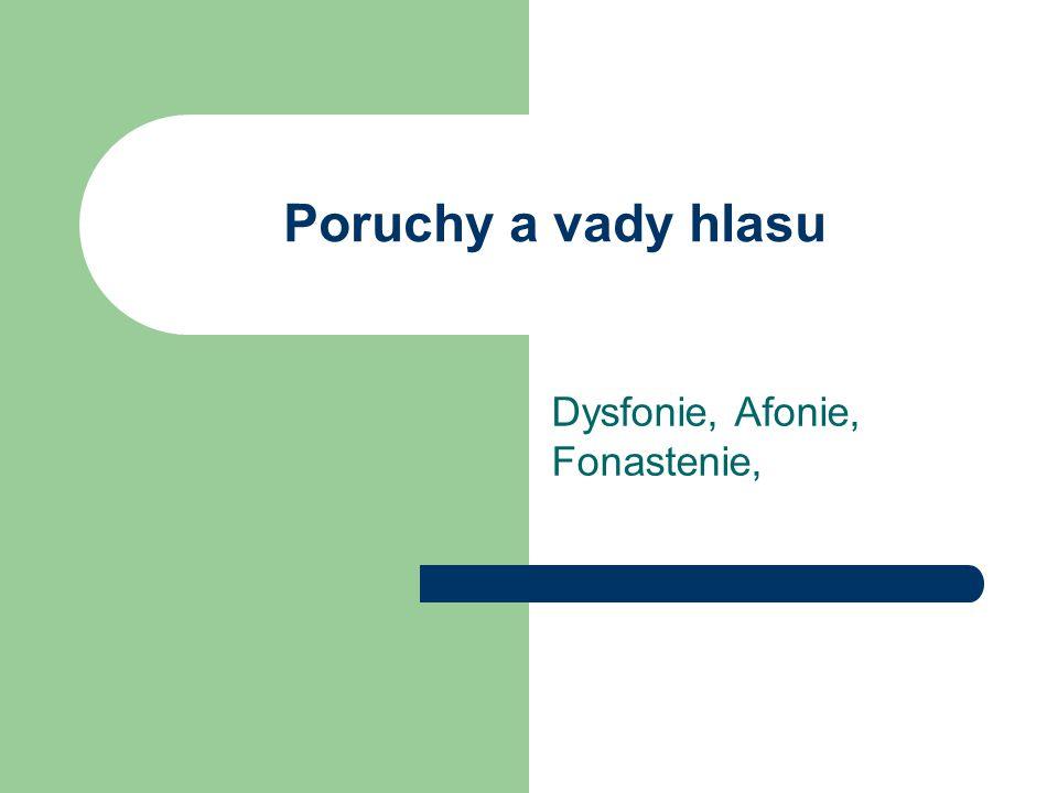 Poruchy a vady hlasu Dysfonie, Afonie, Fonastenie,