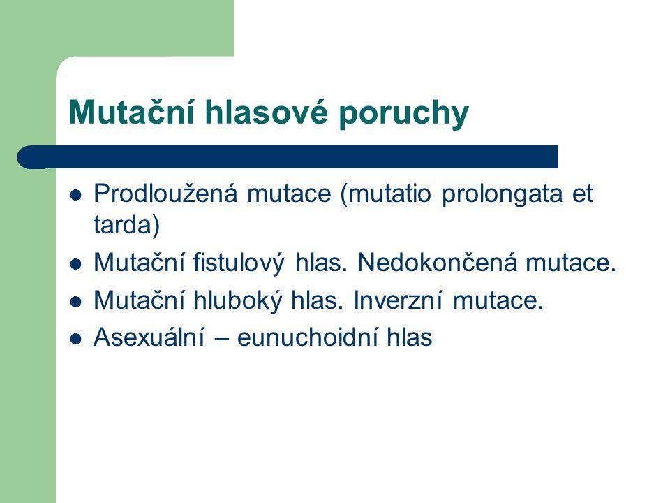Mutační hlasové poruchy Prodloužená mutace (mutatio prolongata et tarda) Mutační fistulový hlas. Nedokončená mutace. Mutační hluboký hlas. Inverzní mu