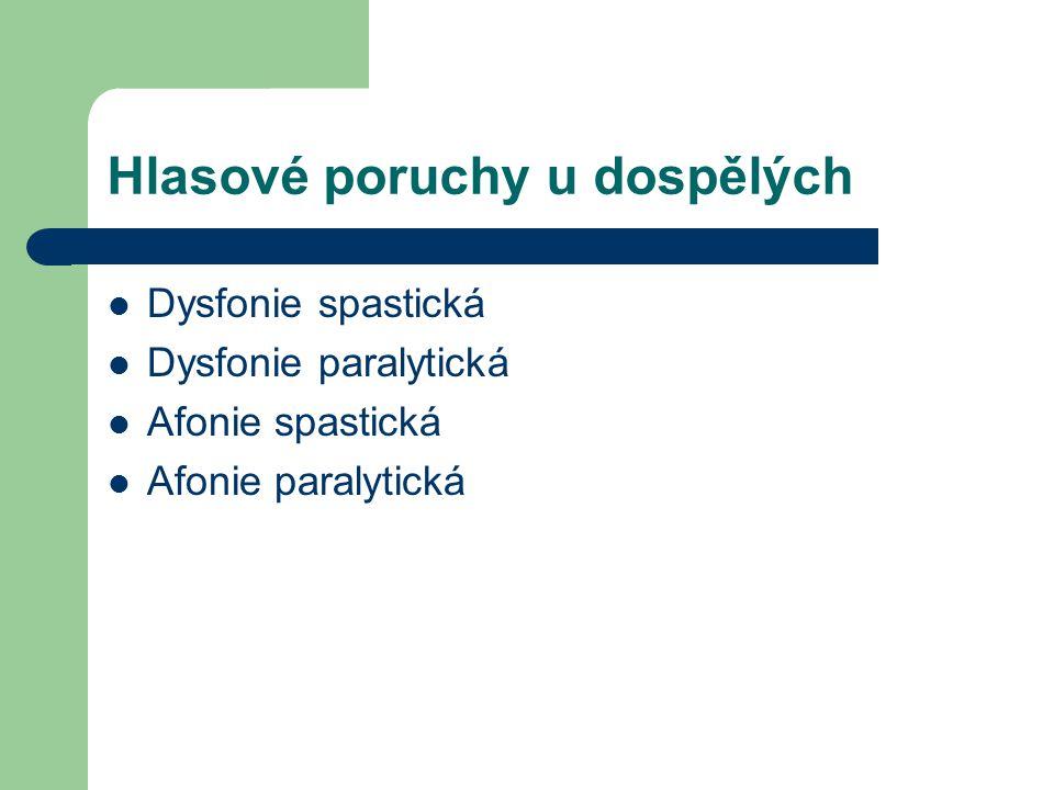 Hlasové poruchy u dospělých Dysfonie spastická Dysfonie paralytická Afonie spastická Afonie paralytická